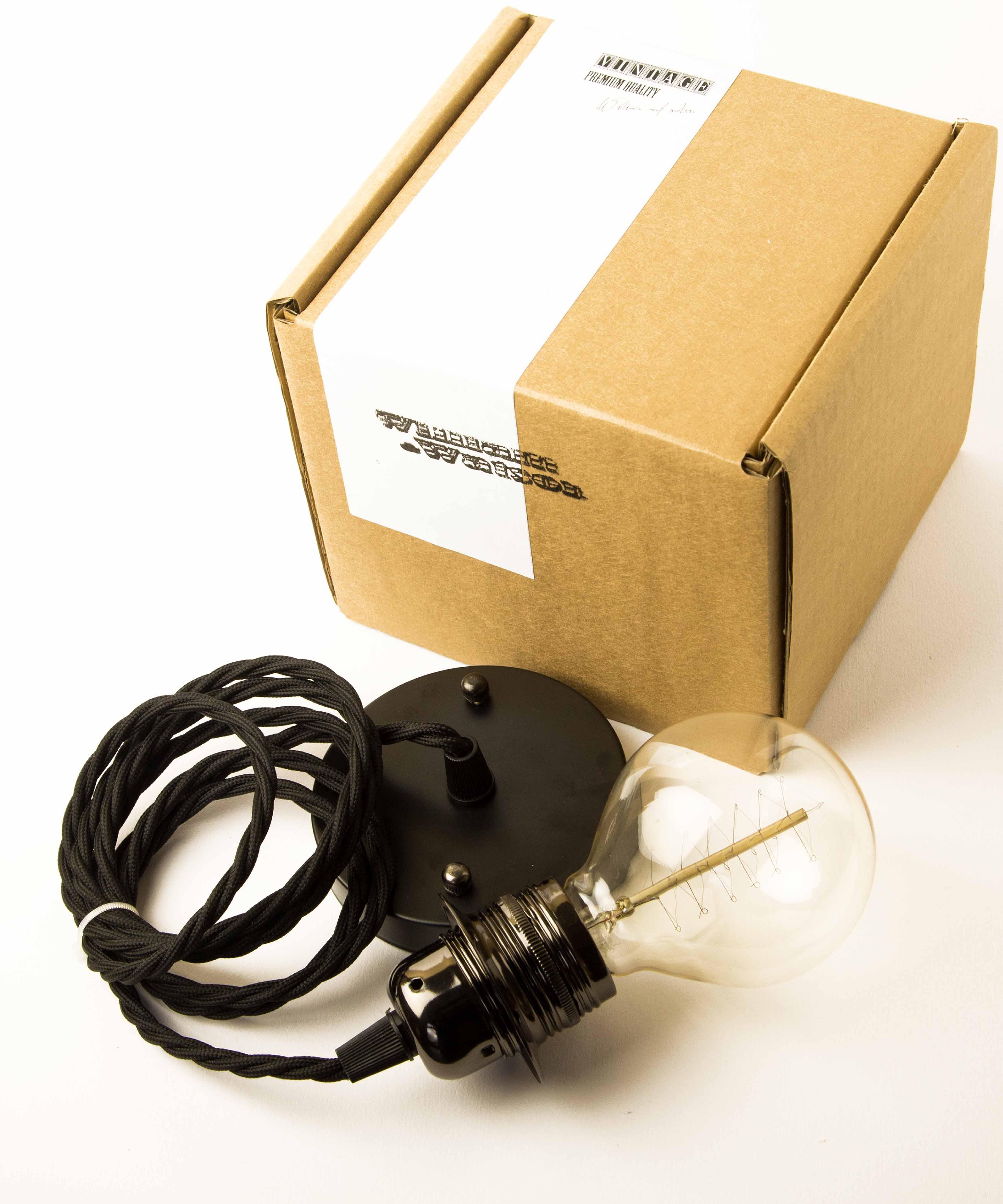 Teardrop st64 william and watson vintage edison bulb industrial light - Ceiling Rose Set Black With G80 Globe Medium Spiral William And Watson Industrial Vintage Bulbs