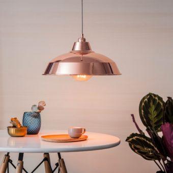 Rose Gold Copper Industrial Pendant Lampshade interior design